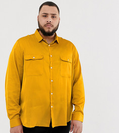 Атласная рубашка классического кроя горчичного цвета ASOS DESIGN Plus - Желтый