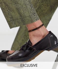 Черный браслет на ногу с полудрагоценным камнем Reclaimed Vintage inspired эксклюзивно для ASOS - Черный