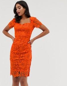 Кружевное платье-футляр с короткими рукавами Paper Dolls - Оранжевый