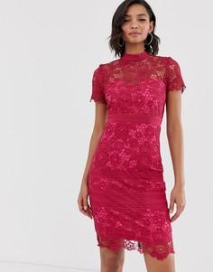 Кружевное платье-футляр премиум-класса с коротким рукавом Paper Dolls - Розовый