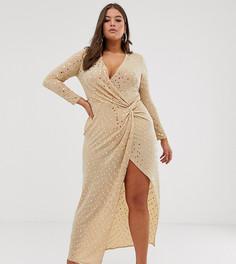 Золотистое эластичное платье макси с отделкой пайетками Flounce London Plus - Золотой