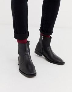 Черные кожаные ботинки челси с квадратным носом ASOS DESIGN - Черный