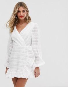Платье мини с длинными рукавами Finders Keepers - Sofia - Белый