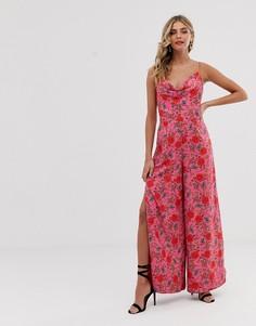 Комбинезон с широкими штанинами и цветочным принтом Finders Keepers Hana - Розовый