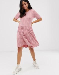 Розовое свободное платье с узором New Look - Розовый