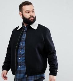 Шерстяная куртка Харрингтон с воротником из искусственного меха Noose & Monkey PLUS - Черный