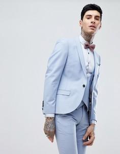 Голубой суперузкий пиджак Noose & Monkey Wedding - Синий