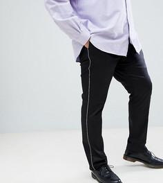 Черные облегающие брюки с контрастной отделкой Noose & Monkey PLUS - Черный
