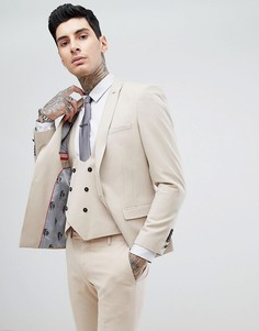 Супероблегающий пиджак кремового цвета Noose & Monkey - Золотой