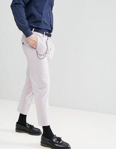 Сиреневые укороченные брюки со складками Noose & Monkey - Розовый