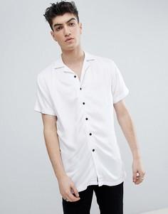Белая рубашка из вискозы с короткими рукавами и отложным воротником Noose & Monkey - Белый