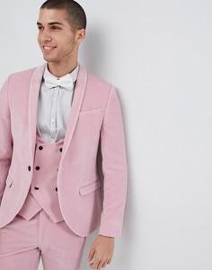 Розовый супероблегающий пиджак из бархата Noose & Monkey - Розовый