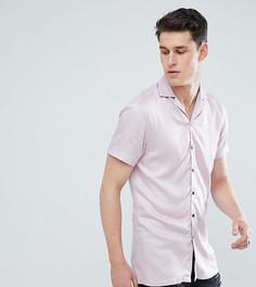 Розовая рубашка из вискозы с короткими рукавами Noose & Monkey TALL - Розовый