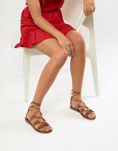 Кожаные сандалии с завязками Aldo - Рыжий