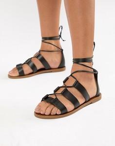 Кожаные сандалии с завязками Aldo - Черный