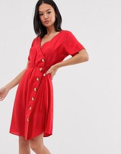 Платье миди с запахом Blend She - Красный