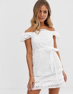 Белое платье с вышивкой ришелье Parisian - Белый