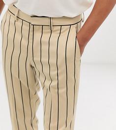 Светло-бежевые строгие брюки скинни в полоску Heart & Dagger - Светло-бежевый