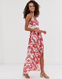 Платье макси на бретельках с узором в полоску и цветочным принтом Parisian - Красный