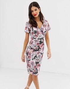 Платье-футляр миди с V-образным вырезом, короткими рукавами и цветочным принтом Paper Dolls - Мульти