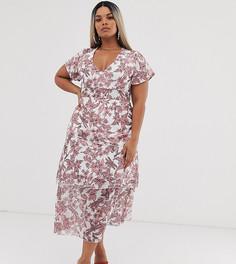 Ярусное платье миди с оборками и цветочным принтом Missguided Plus - Белый