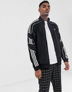 Черная спортивная куртка с 3 полосками adidas Originals - flamestrike - Черный