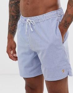Голубые шорты для плавания в полоску из ткани сирсакер Farah Colbert - Темно-синий