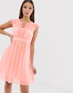Сетчатое пастельное платье с кружевом Naf Naf romantic - Розовый