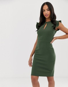 Платье-футляр в стиле колор блок с короткими рукавами и вырезом капелькой Paper Dolls - Зеленый