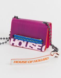 Розовая кожаная сумка с логотипом House Of Holland - Розовый