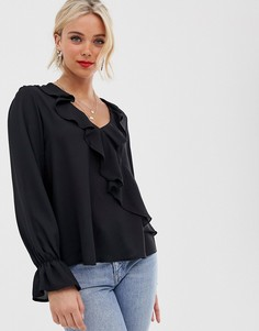 Блузка с оборками Love - Черный