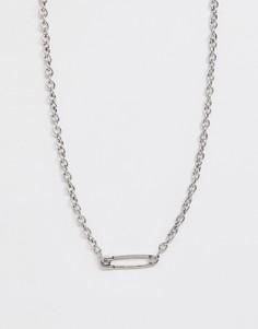 Серебристая цепочка с подвеской в виде английской булавки Icon Brand - Серебряный