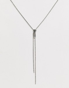 Серебристое ожерелье с бегунком и стразами ASOS DESIGN - Серебряный
