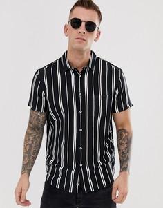 Полосатая рубашка классического кроя с короткими рукавами и отложным воротником Celio - Черный
