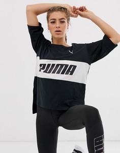 Черная длинная футболка с логотипом Puma - Черный