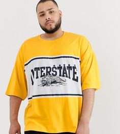 Oversize-футболка со вставкой в стиле колор блок с принтом ASOS DESIGN Plus - Оранжевый