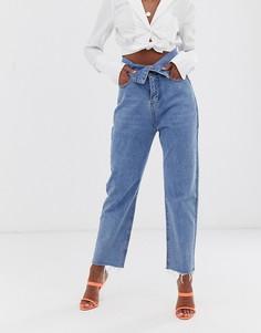 Выбеленные джинсы в винтажном стиле с отворотом Lioness Pistol - Синий