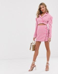 Мини-юбка от комплекта в клетку Finders Keepers Gigi - Розовый
