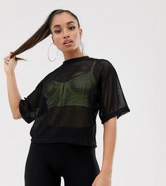 Короткая сетчатая футболка ASOS DESIGN Petite - Черный