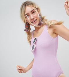 Слитный купальник в рубчик Monki - Фиолетовый