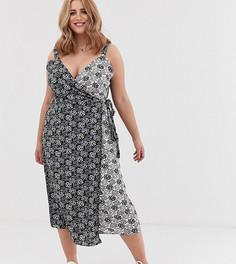 Платье миди с запахом и контрастным цветочным принтом Koko - Мульти