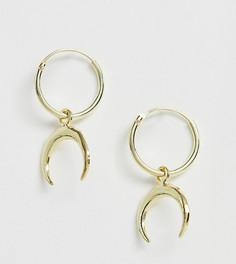 Серьги-кольца из позолоченного серебра с подвесками в виде полумесяца Kingsley Ryan - Золотой