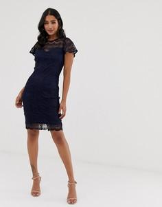 Платье-футляр из кружева кроше с фигурным краем Paper Dolls - Темно-синий