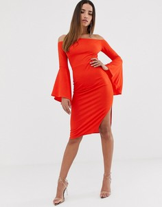 Платье миди с открытыми плечами и рукавами с оборками Club L London - Оранжевый