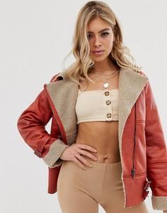 Куртка-авиатор с контрастной меховой отделкой Missguided - Оранжевый