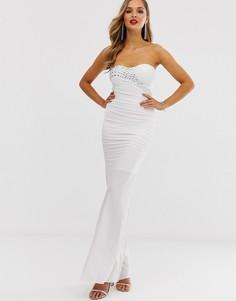 Облегающее платье-бандо макси City Goddess - Кремовый