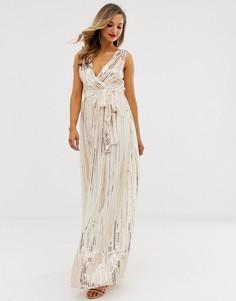 Шифоновое платье макси с запахом и пайетками City Goddess - Золотой