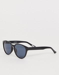 Солнцезащитные очки в стиле ретро в черной оправе с зелеными затемненными поляризованными стеклами Levis - Черный