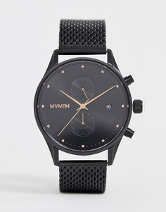 Черные часы с сетчатым ремешком MVMT Voyager - Черный