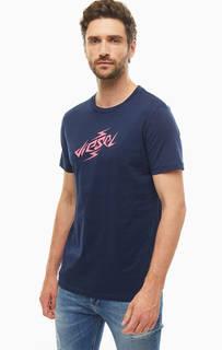 Футболка Хлопковая футболка с ярким принтом Diesel